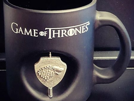 Game Of Thrones Stark 3D Rotating Emblem Black Glass Mug