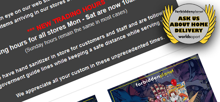 Forbidden Planet & Worlds Apart Newsletter Update