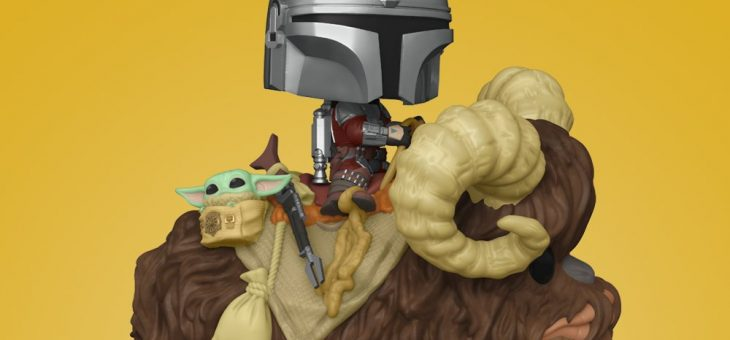Funko: POP Deluxe: The Mandalorian – Mando on Bantha w/Child in Bag